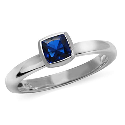 Silvershake Cushion Cut Synthetic Blue Sapphire 925 Sterling Silver Stack Stackable Solitaire Ring Size 4