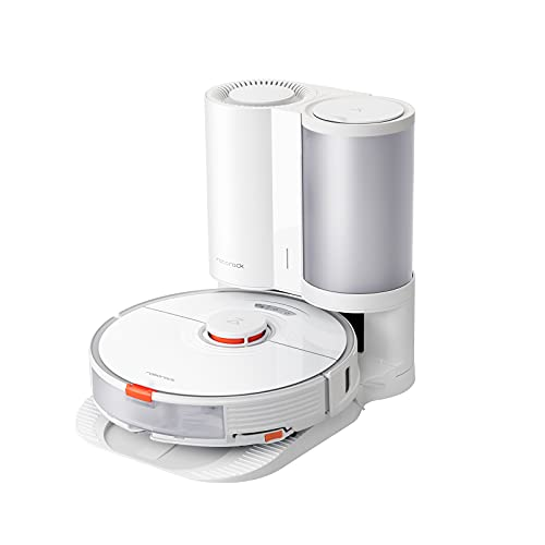 Roborock S7+ Robot Vacuum and Sonic Mop with Auto-Empty Dock, Stores up to 8-Weeks of Dust, Auto Lifting Mop, Ultrasonic Carpet Detection, 2500Pa Suction, Multi-Level Mapping, App Control, White
