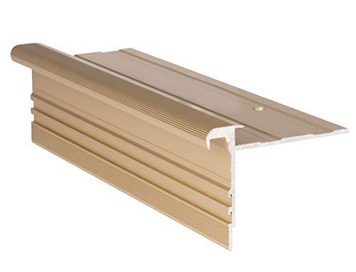 RenoProfil 100 cm Treppenprofil STANDARD 8,5 für Laminat und Vinyl - Treppenkantenprofil für Treppenverkleidung und Treppenrenovierung - Farbe: Messing-Sand