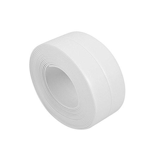 Bodhi2000Streifen Dichtungsband für Badewanne Wand Küche Badezimmer, Zierteile, wasserdicht Formstoßleisten, PVC-Klebeband, PVC, weiß, 38 mm