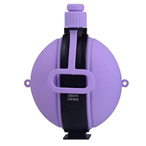 LEEJANSHAN Leakproof Tragbare Kompass Wasserkaraffe mit Aluminium-Legierung Haken Flasche Falten Silikon Teleskop Jug 360 ° Fallschutz Gesundheit Sport Wasser,Lila