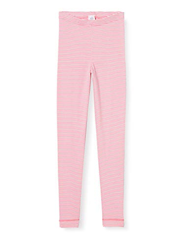 Sanetta Mädchen Camellia Rose Bequeme Feinripp-Leggings als Lange Unterwäsche rosaroten Ringel-Look, rosa, 128