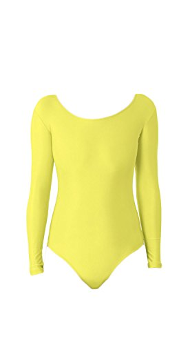 WOLF UNITARD Long Sleeve Leotard for Adult and Child Large Yellow