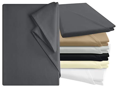 npluseins Bettlaken - 100{16188f8573c3ff22dd9275e042fc3a89c3fd27d51440b64401f490c9dfb12ca1} Baumwolle - in 6 Farben - in 3 verschiedenen Größen - Haushaltstuch ohne Spanngummi, ca. 150 x 250 cm, anthrazit
