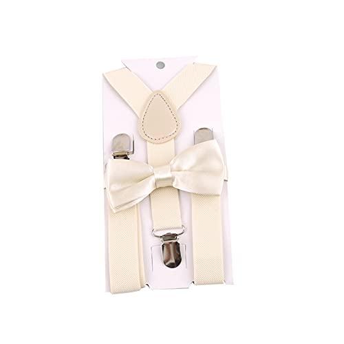 MNSYD Fliege Hosenträger Gürtel Anzug Show männlich weiblich Kinder Hosenträger breit mit extra schweren Clips,Elfenbein