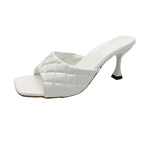 GSLMOLN Summer Fashion Toe Stiletto High Heels Sandals for Women Sexy Slip On Slippers White Size 5