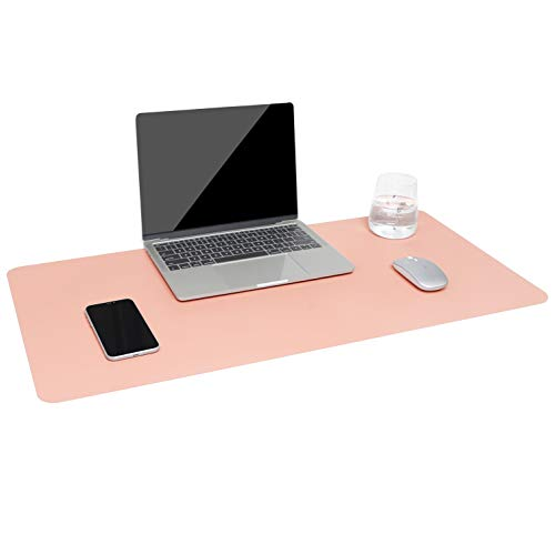 Dual-Sided Multifunctional Desk Pad, Waterproof Desk Blotter Protector, Leather Large Desk Wrting Mat Mouse Pad(31.5' x 15.7', Pink)