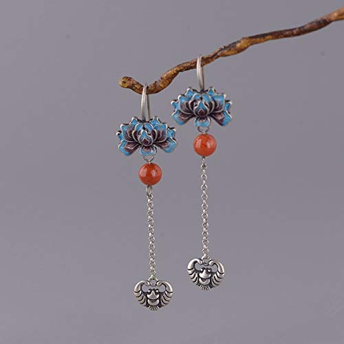 ESCYQ Women Earrings,925 Sterling Silver Chinese Style Peony Bat Tassel Pendant Design for Women Earrings Fashion Temperament Accessories Friends Dance Party Dinner Gifts