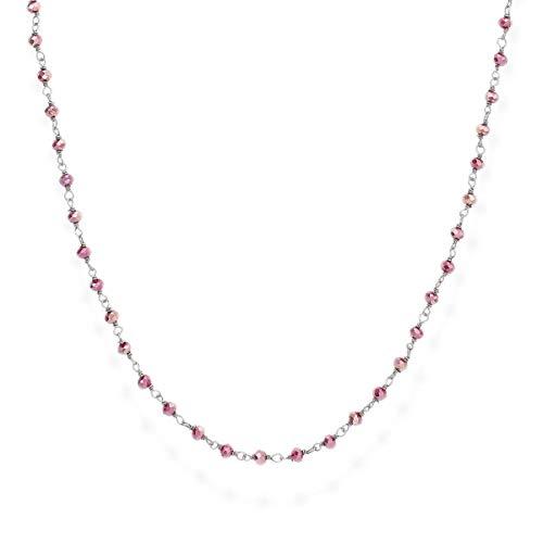 Collana rodio nero donna gioielli AMEN Romance CLNA90 cristalli amaranto collane 88 cm