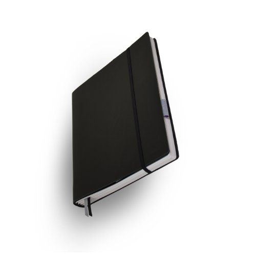 Whitebook Tailored Notebooks, Bloc notes Standard S001-L, pelle bovina tagliata, nera, 240 pag, carta FSC (iPad integrabile, interno modulare ricaricabile) Moleskine