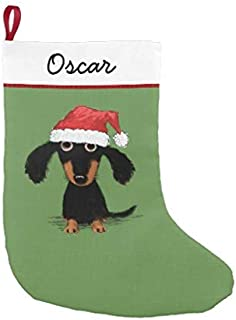 tian huan88 Christmas Stocking, Cute Cartoon Dachshund Funny Wiener Dog Holiday Small Christmas Stocking Christmas Holiday Stockings Xmas Tree Decorations