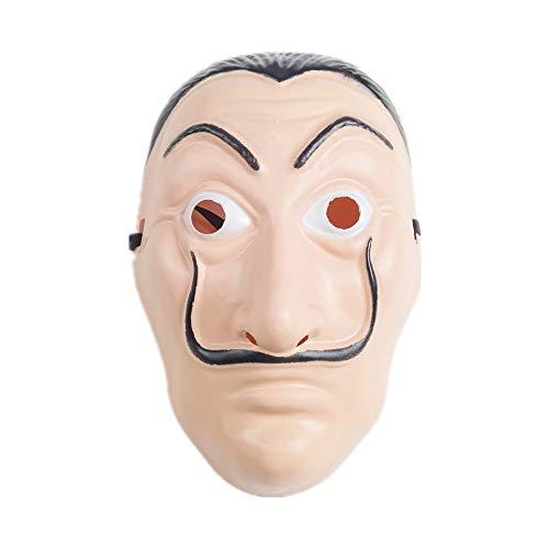 Duo-Mi Disfraz de La Casa de Papel Temporada 3,Jumpsuit Trajes con Dali Máscara y Ametralladora Inflable,Unisex Capucha Disfraz de Carnaval Halloween(Máscara)