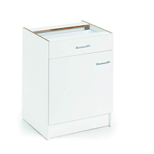 Armario bajo de cocina, blanco, de 60cm, con 1 puerta y 1 cajón