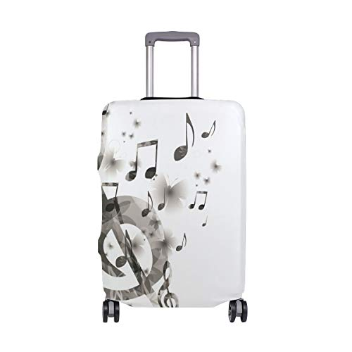 SUHETI Kofferschutzhülle Gepäck Cover Reisekoffer Hülle,Musik mit G Clef Tasteninstrument Monochrome Creative Rhythmic Ornate,Kofferschutz Luggage Cover Gepäckabdeckung(S 18-20 in)