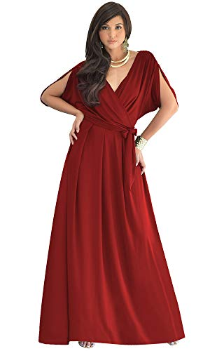 KOH KOH Plus Size Womens Long Formal Short Sleeve Cocktail Flowy V-Neck Casual Bridesmaid Wedding Party Guest Evening Cute Maternity Work Gown Gowns Maxi Dress Dresses, Crimson Dark Red XL 14-16