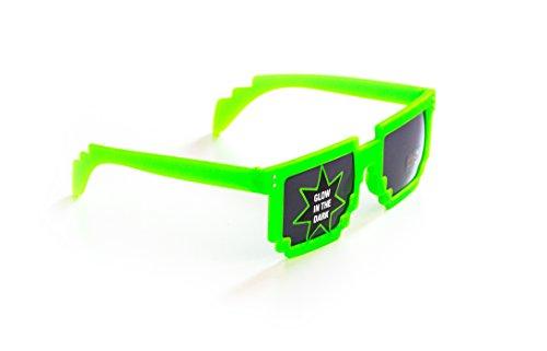 NICK and BEN Pixel-Brille Wayfarer-Stil Nerd-Brille leuchtend Grün ohne Sehstärke Sonnen-Brille 15cm Herren Damen Unisex Panto-Brille Wayfarer Klar-Glas Nerd-Brille Geek-Brille Green Glow Dark