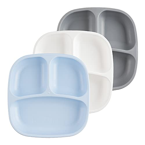 RE-PLAY Made in USA Toddler Feeding Divided Plates with Deep Sides and Three Compartments for Easy Self Feeding | BPA Free | Dishwasher Safe | White, Ice Blue & Grey |Glacier (3pk)