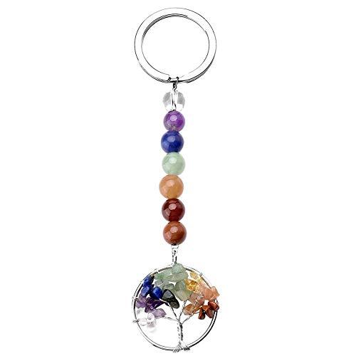 Porte-clefs arbre de vie en cristal INTVN Porte-clés Pendentif Pierre Précieuse, Coloré Chakra Seven Série chaîne Porte-clés pour le couple et amis