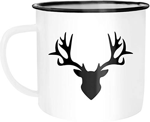 Autiga - Taza de café esmaltada, diseño de ciervo, esmalte metal, Ciervo blanco y negro., talla única