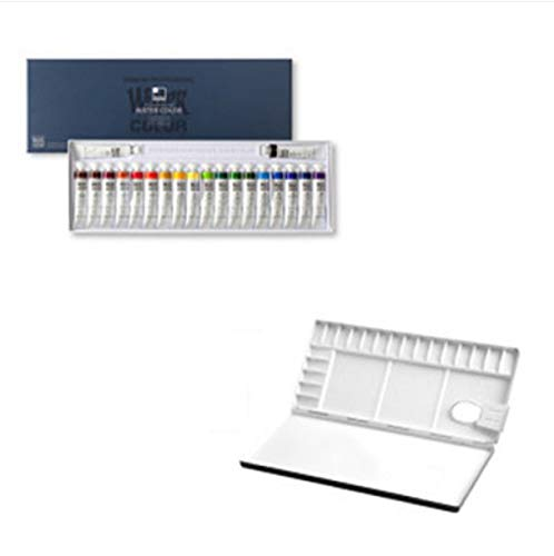 Shinhan Professional Watercolor Paint 12ml Tubes 20 Color Set + Heungil Aluminum Watercolor Palette 20 Well