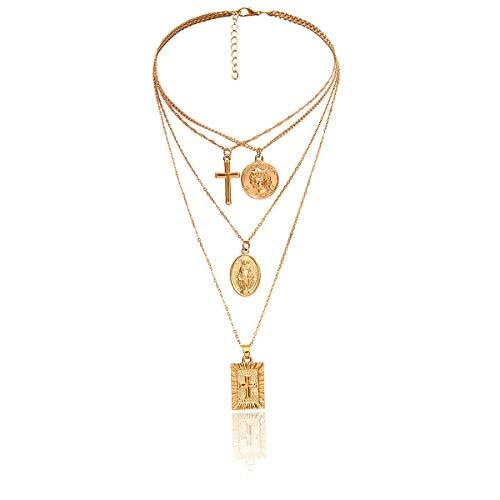 Ketting Voor Vrouwen, Multi-Layer Ketting Mode Nek Ornament, Retro Persoonlijkheid Gouden Geometrische Ornamenten Eenvoudige Multi-Layer Jezus Cross Veelzijdige Ketting, Gepersonaliseerde Kleding Accessorie