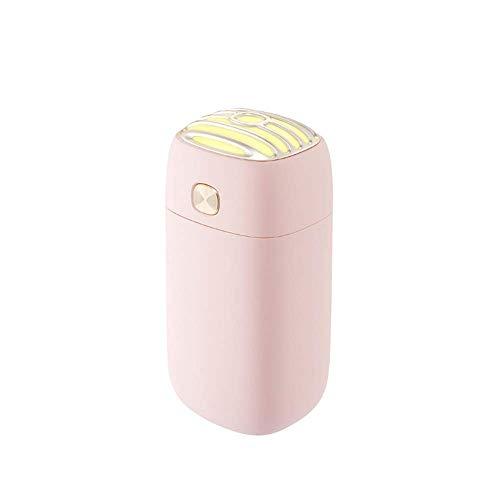 Ningz0l Mini-luchtreiniger, USB-luchtbevochtiger, 260 ml, draagbaar, autoverstuiver, retro microfoon, muur, kantoor, desktop luchtbevochtiging roze