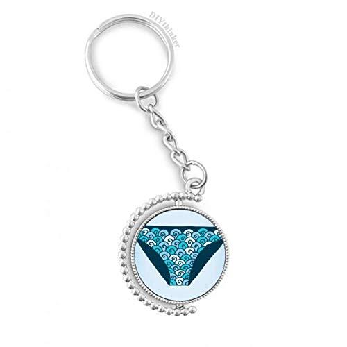 DIYthinker Blau Badehose Illustration Muster Drehbare Schlüsselanhänger Ringe 1.2 Zoll x 3.5 Zoll Mehrfarbig