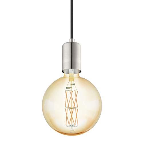 EGLO Lámpara colgante Yorth, 1 lámpara colgante vintage industrial, lámpara de techo de acero en níquel mate, cable en negro, lámpara de comedor, lámpara colgante con casquillo E27