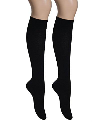 Vitasox 12998 Damen Kniestrümpfe Baumwolle Baumwollkniestrümpfe Damenkniestrümpfe ohne Naht einfarbig 6er Pack schwarz 39/42