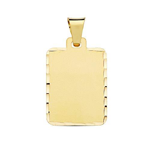 18k Gold-Anhänger 24mm matte Folie. rechteckige fence Detail geschnitzt
