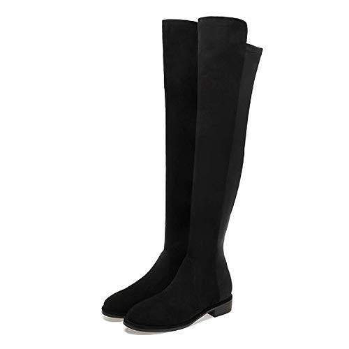 PIVFEDQX Damen Overknee-Stiefel, Elastische Wildleder-Stiefel mit dickem Absatz und runden Zehen, Damenstiefel, dünne Beine in Übergröße