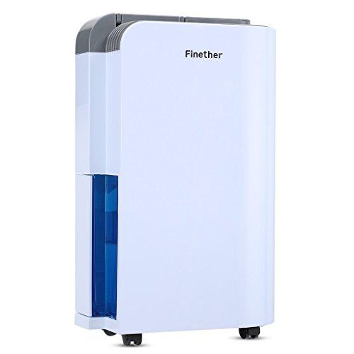 Finether Deumidificatore 12L/D Multi-mode Intelligente Anioni Air Purify per Casa, Camera da letto, Cucina, Caravan, Garage - Bianco