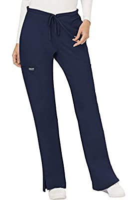 CHEROKEE Women's Mid Rise Moderate Flare Drawstring Pant, Navy, Small