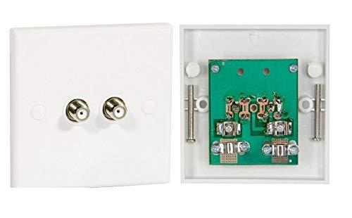 K M Electronics Double F Type Coax COAXIAL Wall Socket Plate TV Satellite Sky Virgin