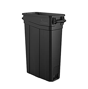 Suncast Commercial TCNH2030BK Narrow Trash Can With Handles 30.00  Height x 11.08  Width 23 gal Capacity Black