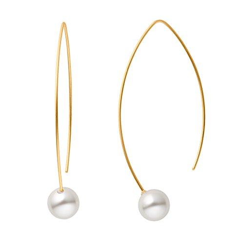Heideman Ohrringe Damen Auris aus Edelstahl gold farbend matt Ohrstecker hängend für Frauen Perle weiss rund 10mm