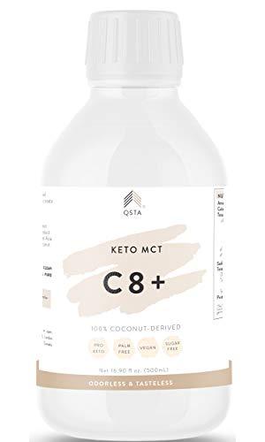 Keto MCT Oil C8+ (500 ML) - Promueve 10X Dieta Keto, Quema grasas & Energía, Aceite de Coco C8, SIN ACEITE DE PALMA, 100% COCO VEGANO, Quemagrasas potente para adelgazar y rapido +EBOOK +MEDICOS