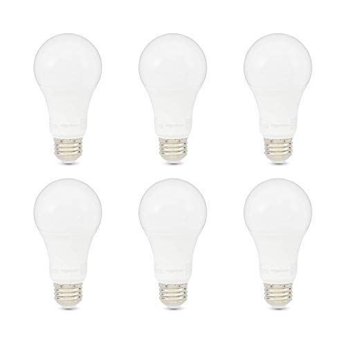 AmazonBasics 100W Equivalent, Daylight, Non-Dimmable, 10,000 Hour Lifetime, A19 LED Light Bulb | 6-Pack