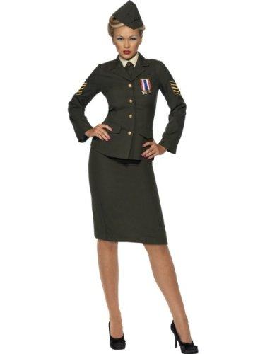 Smiffys Women M-US Size 10-12 Wartime Officer Costume, Green