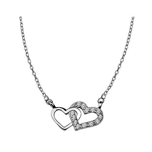 SOFIA MILANI Damen Halskette Doppel Herz Anhänger Silber 50053
