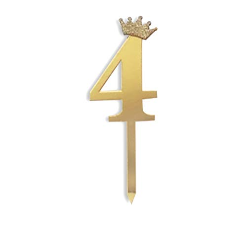 GALILEE Gold Number 4 Princess Crown Cake Topper for 4th Birthday Party Cake Ballerina Crown Fairy Decoration | Four Cake Topper Decoration Birthday Anniversary Party | Number 4 Acrylic Gold Glitter Happy 4th Birthday Cake Candles | Number 4 Birthday Candle Cake Topper Decoration for 4th Birthday Anniversary Party Supplies Decoration | Glitter Number Crown for Cake | Happy Birthday 4