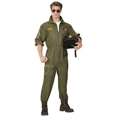NET TOYS Stilechtes Piloten-Kostüm Herren | Oliv in Größe S (48) | Lässige Männer-Verkleidung Overall Jetpilot | EIN Blickfang für Fasching & Karneval
