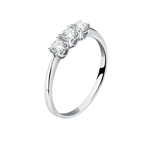 Live Diamond Women's 9k White Gold, Lab Grown Ecological Diamond Ring - LD045050