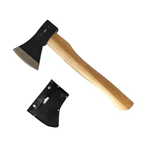 HFS(R) 斧 薪割り キャンプ 36.5cm 鉈 ガーデン用手斧 アウトドア 家庭 ガーデン キャンプ ヒッコリーウッド シース付き