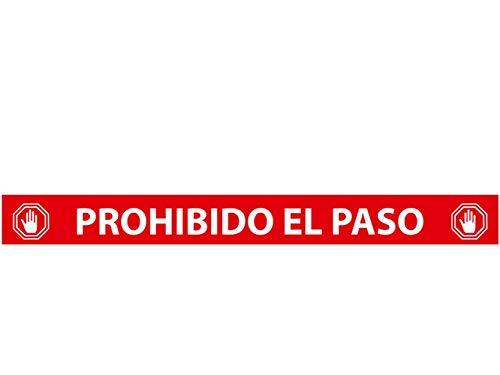 Oedim Pack 5 Vinilo Señalización Prohibido el Paso Rojo | Vinilos Autoadhesivos para Decorar o Renovar Suelos