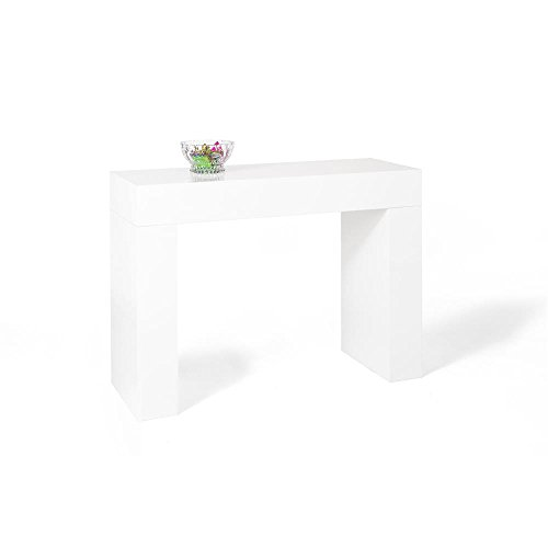 Mobili Fiver, Mesa Consola, Modelo Evolution, Color Blanco Brillante, 110 x 40 x 80 cm, Made in Italy