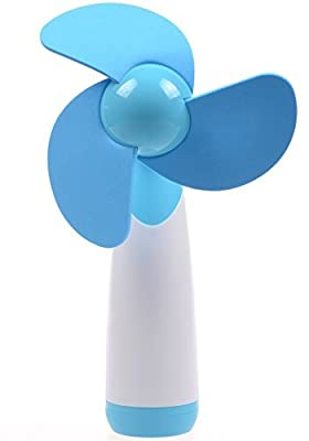 FAS1 Portable Fan Handheld Mini Fan AA Battery Powered Super Mute Cooling Fan for Home, Office and Travel - Battery Not Included - Blue