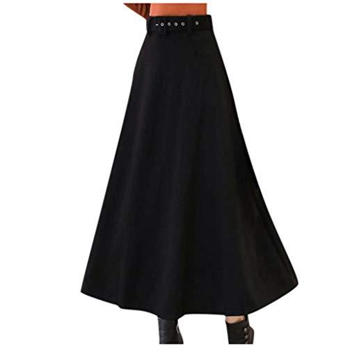 Deloito Damen Mode A-Linie Midirock Frühling Sommer Wickelrock Frauen Lässig Plisseerock Mädchen Freizeit Einfarbig Lange Röcke (Schwarz,Large)