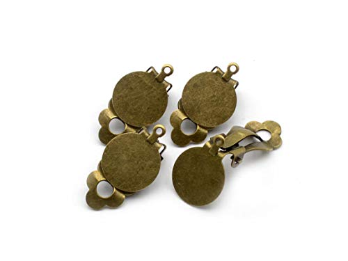 Vintageparts Ohrclips mit 12mm Klebepad und Aufhängung in antik bronzefarben 4 Stück Schmuck selber Machen Clips Ohrringe Ohrstecker