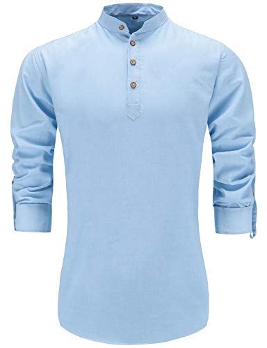 Dioufond Mens Henley Shirts Long Sleeve Stand Collar Popover Shirts Blue 3XL